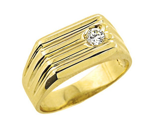 Men's Yellow Gold Diamond Ring