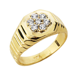 Diamond Men's Ring in Yellow Gold