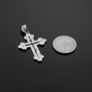 White Gold Eastern Orthodox Diamond Cross Pendant Necklace