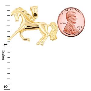 Yellow Gold Running Horse Charm Pendant