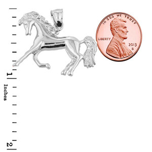 Sterling Silver Running Horse Charm Pendant