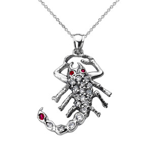 Sterling Silver Cubic Zirconia Scorpion Pendant Necklace