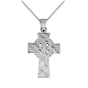 Sterling Silver Irish Celtic Cross Trinity Pendant Necklace