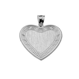 Greek Key Silver Engravable Heart Pendant