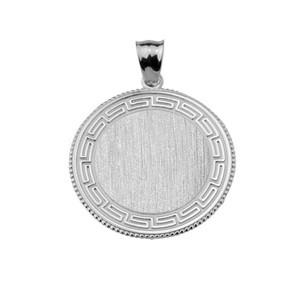 Greek Key Silver Engravable Round Pendant Necklace