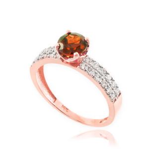 Garnet Gemstone Rose Gold Diamond Pave Engagement Ring