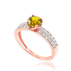 Citrine Gemstone Rose Gold Diamond Pave Engagement Ring