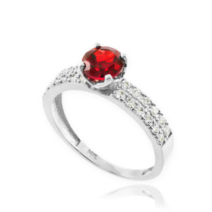 Genuine Ruby White Gold Diamond Pave Engagement Ring