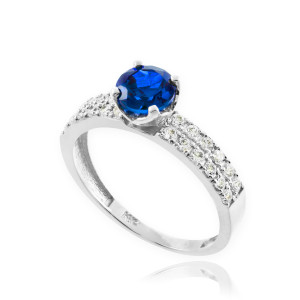 Blue Sapphire White Gold Diamond Pave Engagement Ring