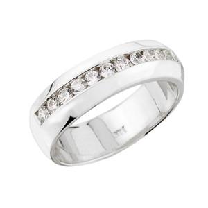 White Gold Diamond Unisex Wedding Band