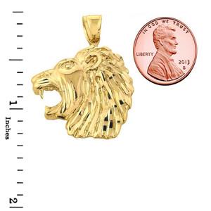 Solid Gold Diamond Cut Lion Head Pendant