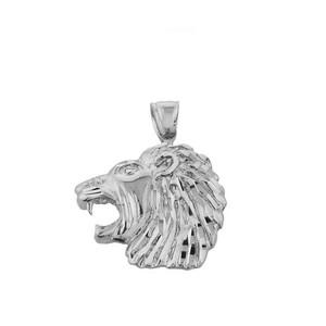 Sterling Silver Diamond Cut Lion Head Pendant