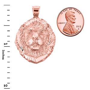 Diamond Cut Lion Head Pendant Necklace in Rose Gold