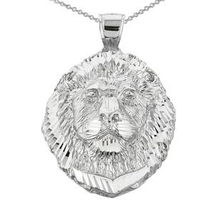 Diamond Cut Lion Head Pendant Necklace in Whtie Gold