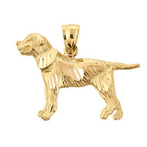Yellow Gold Diamond Cut Greater Swiss Mountain Dog Pendant Necklace