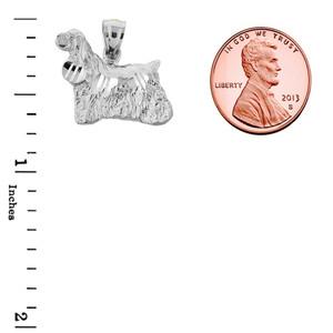 Sterling Silver Diamond Cut Field Spaniel Pendant
