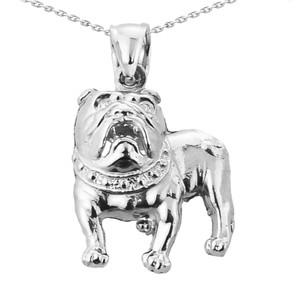 Solid White Gold Bulldog Pendant Necklace