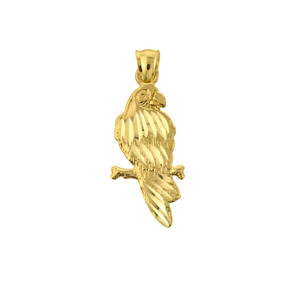 Solid Yellow Gold Diamond Cut Parakeet Pendant