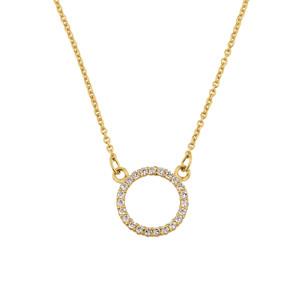 "14k Yellow Gold ""Circle of Love"" Diamond Necklace"