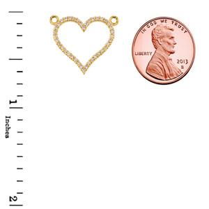 14K Yellow Gold Diamonds Studded Open Heart Necklace