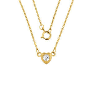 14K Gold Diamond Dainty Heart Necklace