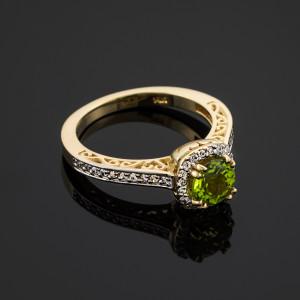 Gold Peridot Halo Diamond Pave Engagement Ring
