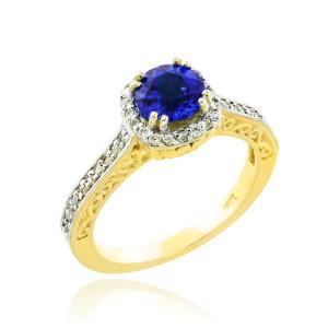 Blue Sapphire Gold Halo Diamond Pave Engagement Ring