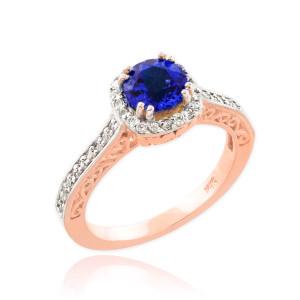 Rose Gold Blue Sapphire Halo Diamond Pave Engagement Ring