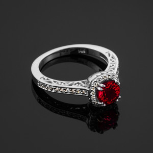 White Gold Halo Diamond Pave Ruby Engagement Ring