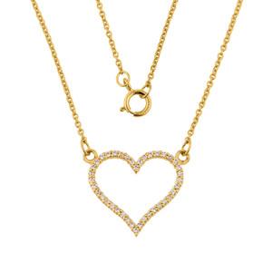 14K Yellow Gold Cubic Zirconia Open Heart Necklace