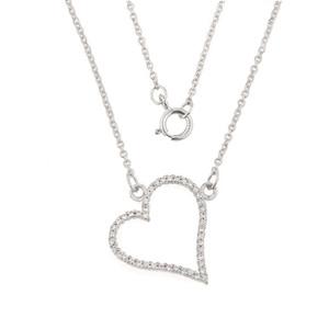 14K White Gold Diamond Studded Heart Necklace