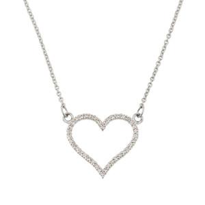 14K White Gold Diamonds Studded Open Heart Necklace