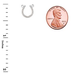 14K White Gold Diamond Studded Horseshoe Necklace