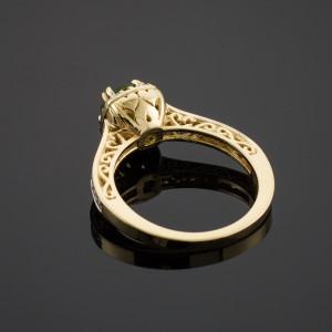 Gold Halo Pave Diamond Emerald Engagement Ring