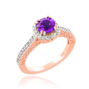 Rose Gold Amethyst Solitaire Halo Diamond Pave Engagement Ring