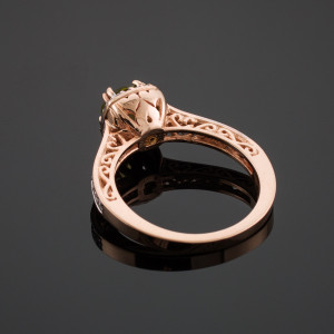 Yellow Citrine Halo Diamond Pave Rose Gold Engagement Ring