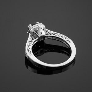 Garnet Birthstone Halo Diamond Pave White Gold Engagement Ring