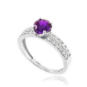 Amethyst Gemstone White Gold Diamond Pave Engagement Ring