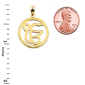 Solid Gold Ek/Ik Onkar Charm Pendant