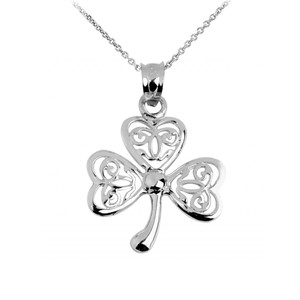 Silver Celtic Clover Pendant Necklace