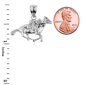 Sterling Silver Polo Horse and Rider Sports Charm Pendant