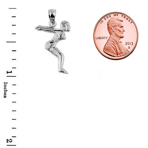 Sterling Silver Lady Swimmer/Diver Charm Pendant
