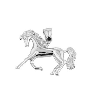 White Gold Running Horse Charm Pendant