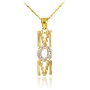 14K Gold MOM Diamond Studded Vertical Pendant Necklace