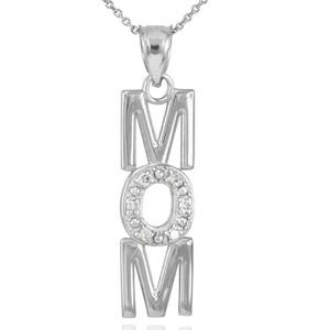 14K White Gold MOM Diamond Studded Vertical Pendant Necklace