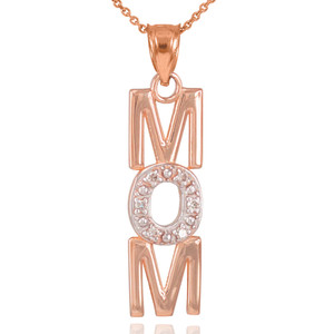 14K Rose Gold MOM Diamond Studded Vertical Pendant Necklace