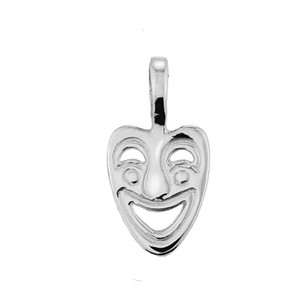 White Gold Comedy Mask Pendant Necklace.
