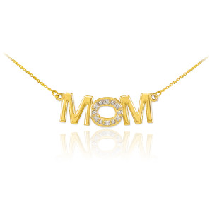 14K Yellow Gold MOM Diamond Studded Pendant Necklace
