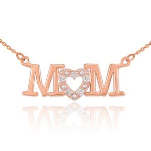 14K Rose Gold MOM Diamond Studded Heart Horizontal Necklace