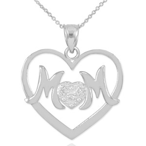 "14K White Gold Diamond Pave Heart ""MOM"" Pendant Necklace"